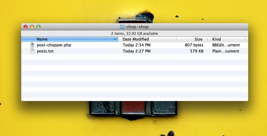 Posts file in a posts folder.