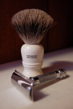"""""""New Shaving Gear: A brush and safety rasor"""""""